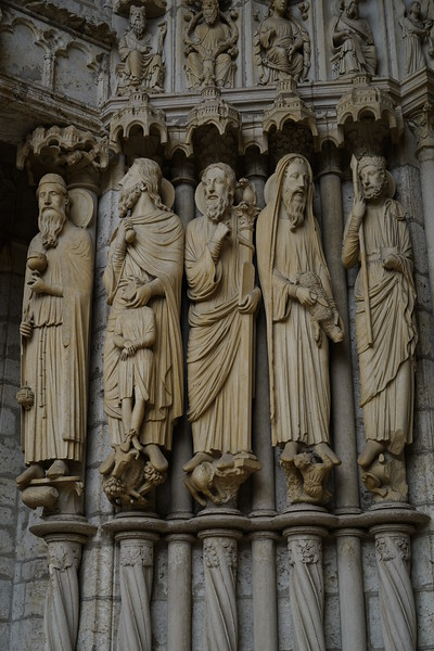Chartres Cathedral North Porch - Prophets Melchizedek, Abraham with Isaac, Moses, Samuel, and David
