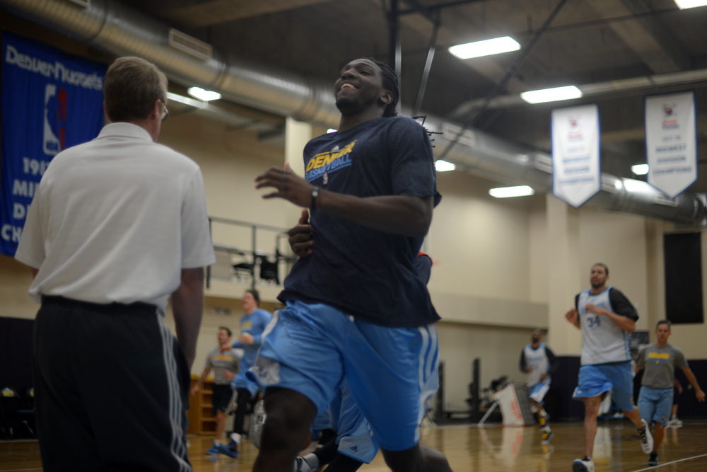 . Kenneth Faried of Denver Nuggets is in the team practice for the 1st round of playoff game against Golden State Warriors at Pepsi Center. Denver. Denver, Colorado. April 19, 2013. (Photo By Hyoung Chang/The Denver Post)