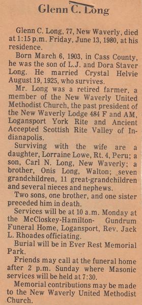 Newspaper Clipping - Obituary - Glenn C. Long - June 13, 1980.jpg