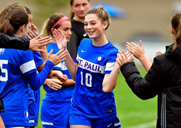 10/6/2018 Mike Orazzi | Staff St. Paul Girls Soccer's Reagan Davis (10)Saturday.
