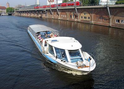 SIGHT SEEING BOATS OF THE RIVER SPREE BERLIN.