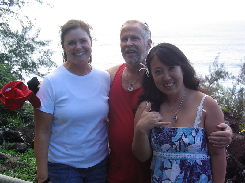 Kathleen Haws with our local hosts Paul Cook and our beautiful hula dancer Chizuru.
