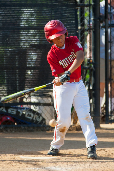 Alex goes down swinging in the bottom of the 5th inning. The Nationals struggled on both offense and defense in a 2-11 loss to the Orioles. They are now 7-4 for the season. 2012 Arlington Little League Baseball, Majors Division. Nationals vs Orioles (19 May 2012) (Image taken by Patrick R. Kane on 19 May 2012 with Canon EOS-1D Mark III at ISO 400, f4.0, 1/1250 sec and 280mm)