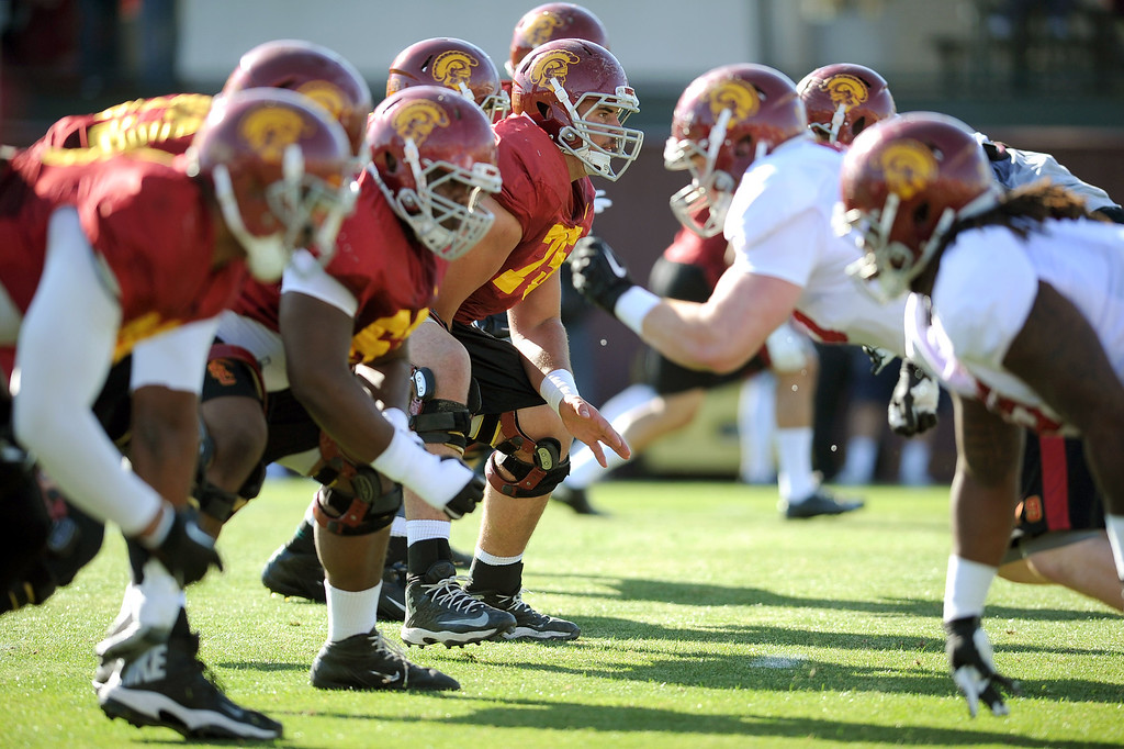 . The USC football team held a spring practice at USC Monday, April 1, 2014. (Andy Holzman/Los Angeles Daily News)