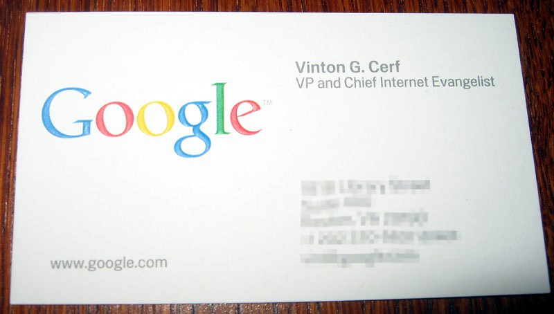Vint Cerf's business card (personal information redacted)