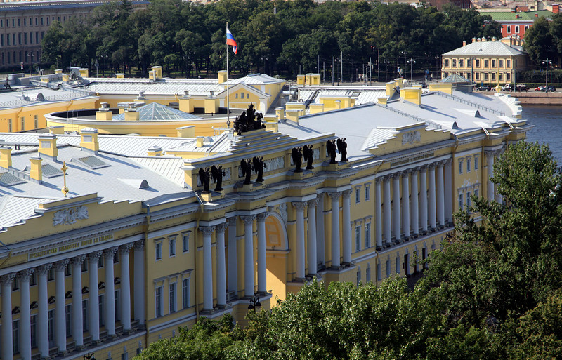 View from the Colonnade of St Isaac's Cathedral - The Senate building (The civil governing body of pre-revolutionary Russia).