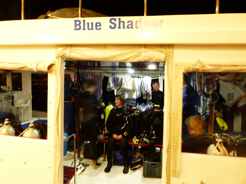 Getting ready for the manta ray night dive.