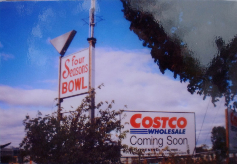 The famous Four Seasons Bowling Alley on West Chestnut St. As the story goes, Frankie Valli and his band mates auditioned for a gig in the lounge and got turned down. They liked the name of the place and decided to use it for their group.  This photo was taken before the property was used to build a Costco Store.