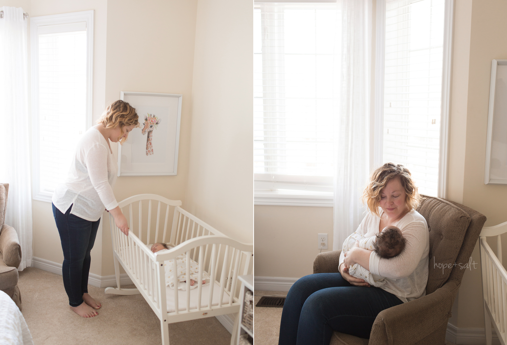 An in home lifestyle session for six week old baby girl Cody and her mom by Waterdown ontario newborn photographer Hope and Salt