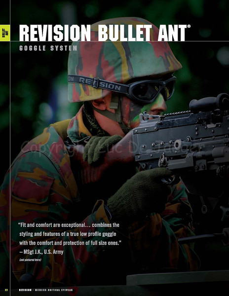 On page 22 of the 2009 Revision Eyewear Product Catalog my background photo of a Belgian infantry soldier wearing Revision Eyewear goggles was published.