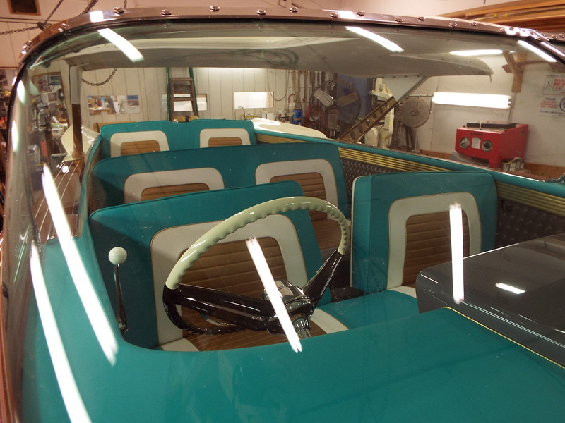 Looking through the windshield with all the seats installed.