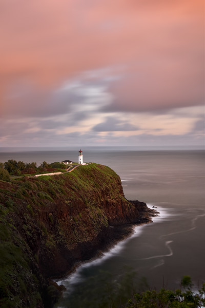 Vertical view of Kilauea lighthouse in sunrise