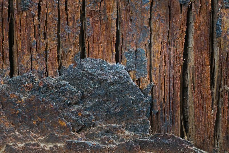 Weathered Metal Edge Over Weathered Wood