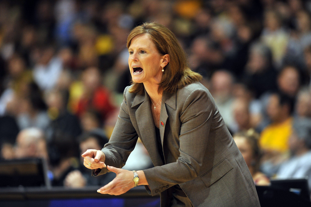 . BOULDER, CO. - MARCH 23: Head coach Bonnie Henrickson of Kansas Jayhawks is in the first round of the 2013 NCAA women\'s Basketball Tournament game against Colorado Buffaloes at Coors Events Center. Boulder, Colorado. March 23, 2013. (Photo By Hyoung Chang/The Denver Post)