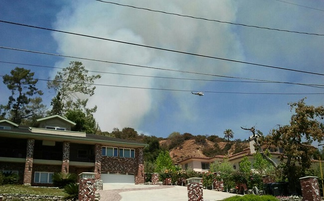 . A fire north of Monrovia started Saturday afternoon near Madison Ave. and Crescent Drive. (SGVN/Staff photo by Brian Day)