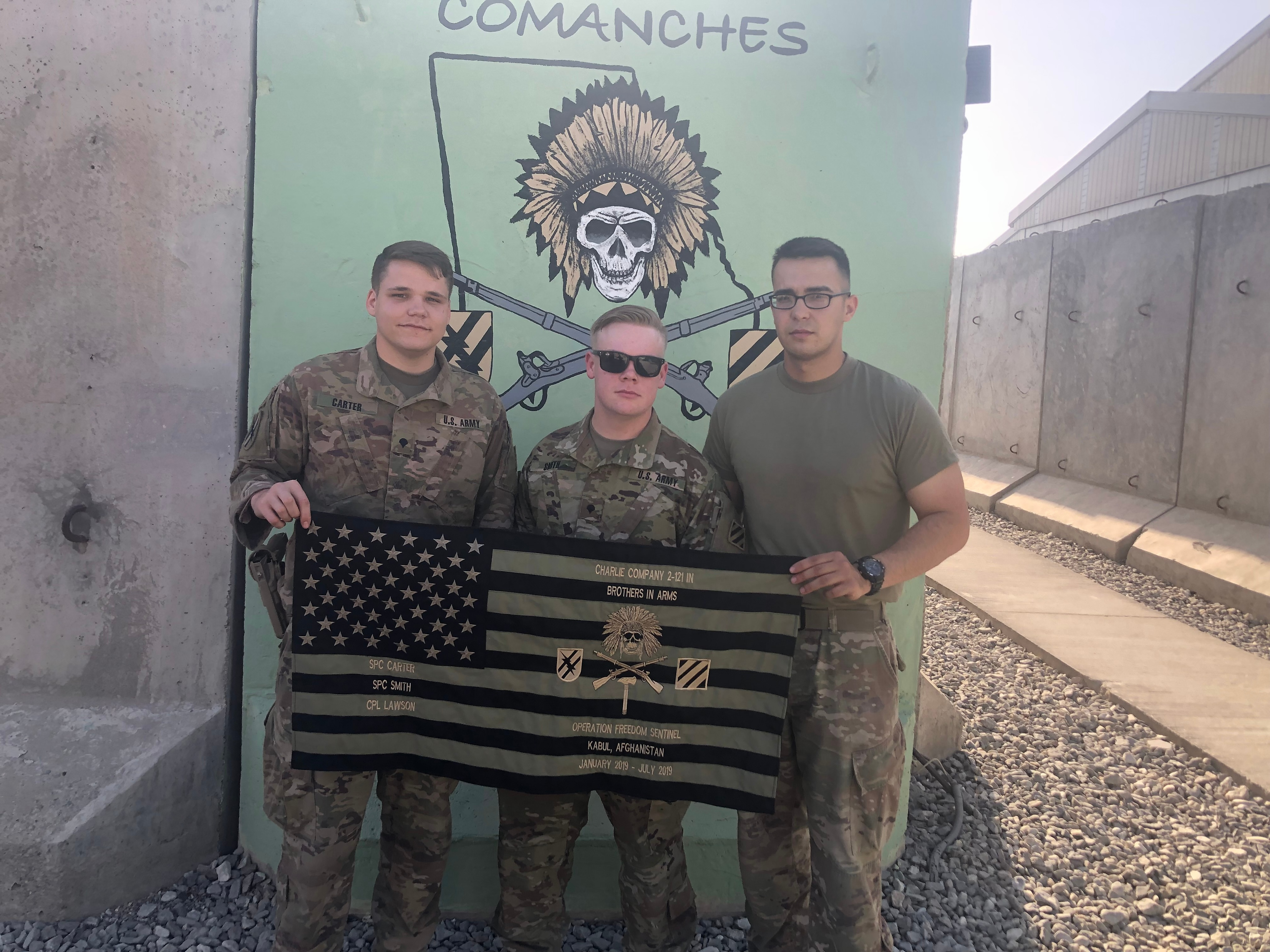 Carter (right) and Lawson (left) in Afghanistan.