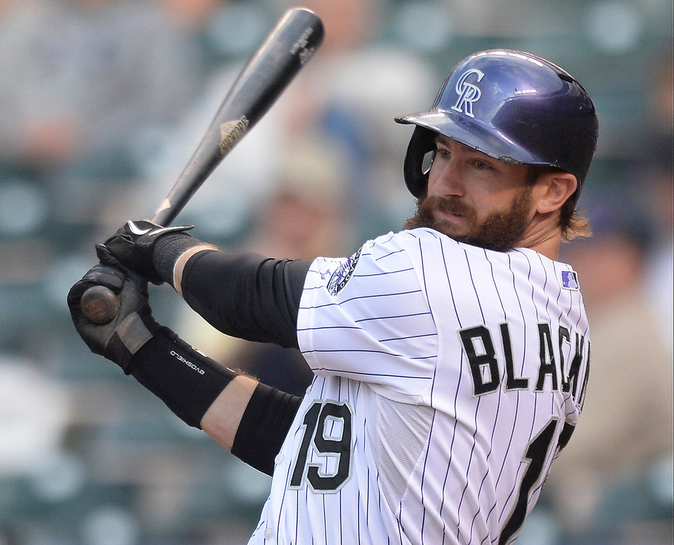 . Charlie Blackmon led off for the Rockies in the first inning. The Colorado Rockies hosted the San Francisco Giants Wednesday night, May 21, 2014.  (Photo by Karl Gehring/The Denver Post)