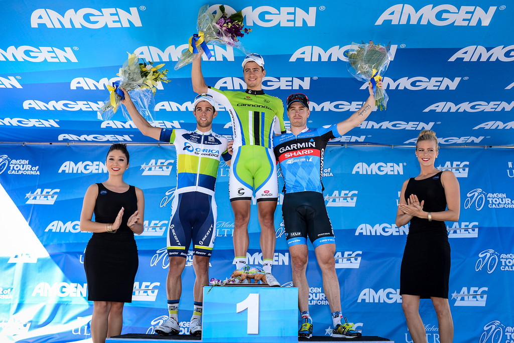 . Peter Sagan, Cannondale, wins Stage 3 of the Amgen Tour of California.  Michael Matthews, Orica-Greenedge took second and Tyler Farrar, Garmin-Sharp, took third in a sprint finish.  Stage 3 started in Palmdale and ended in a sprint finish in Santa Clarita.    Photo by David Crane/Staff Photographer