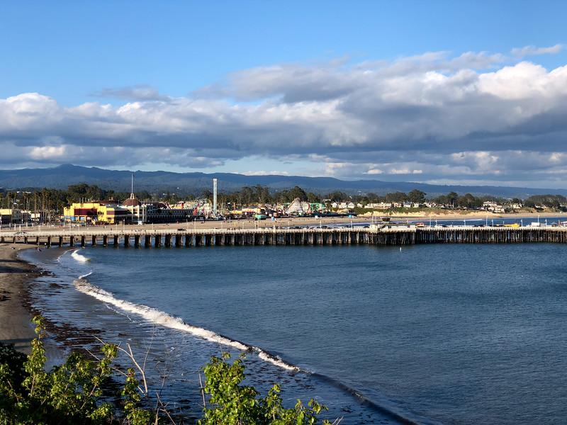 A view of the Santa Cruz Beach Boardwalk and the Wharf