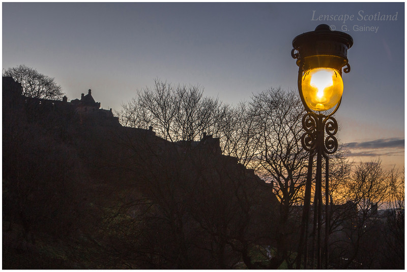 Lamp on the Mound, with Edinburgh Castle silhouette