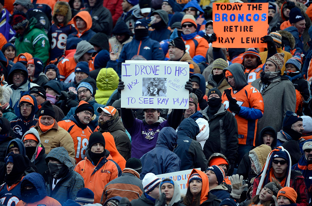 . A lone Ravens fan shows his support during the Denver Broncos vs Baltimore Ravens AFC Divisional playoff game at Sports Authority Field Saturday January 12, 2013. (Photo by Tim Rasmussen,/The Denver Post)