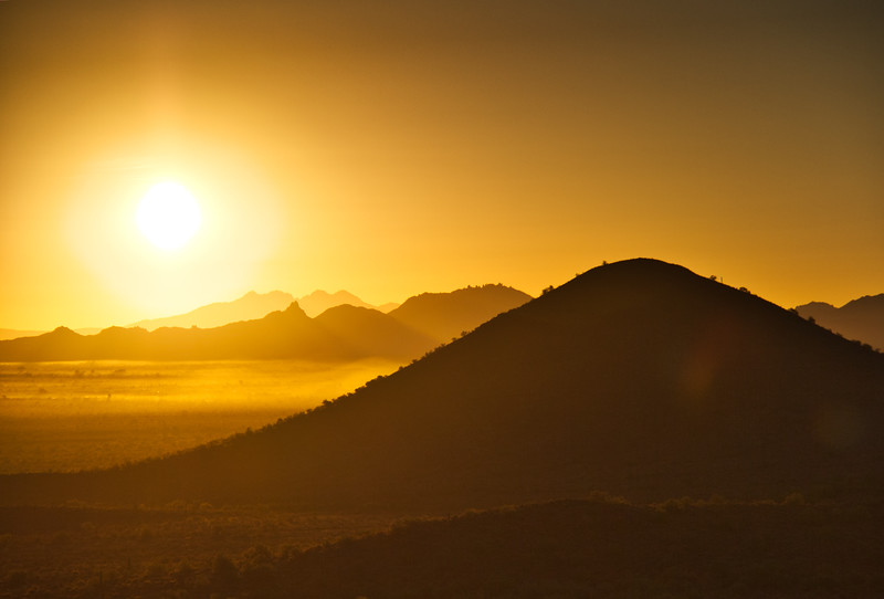 Warm Desert Sunrise with Mountains