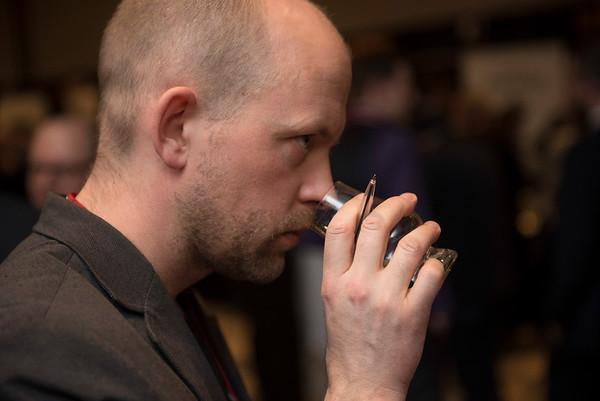 DAVID LIPNOWSKI / WINNIPEG FREE PRESS  Winnipeg Free Press wine writer Ben MacPhee-Sigurdson takes in the 2017 Winnipeg Whiskey Festival Friday March 3, 2017 at the Fairmont Hotel.