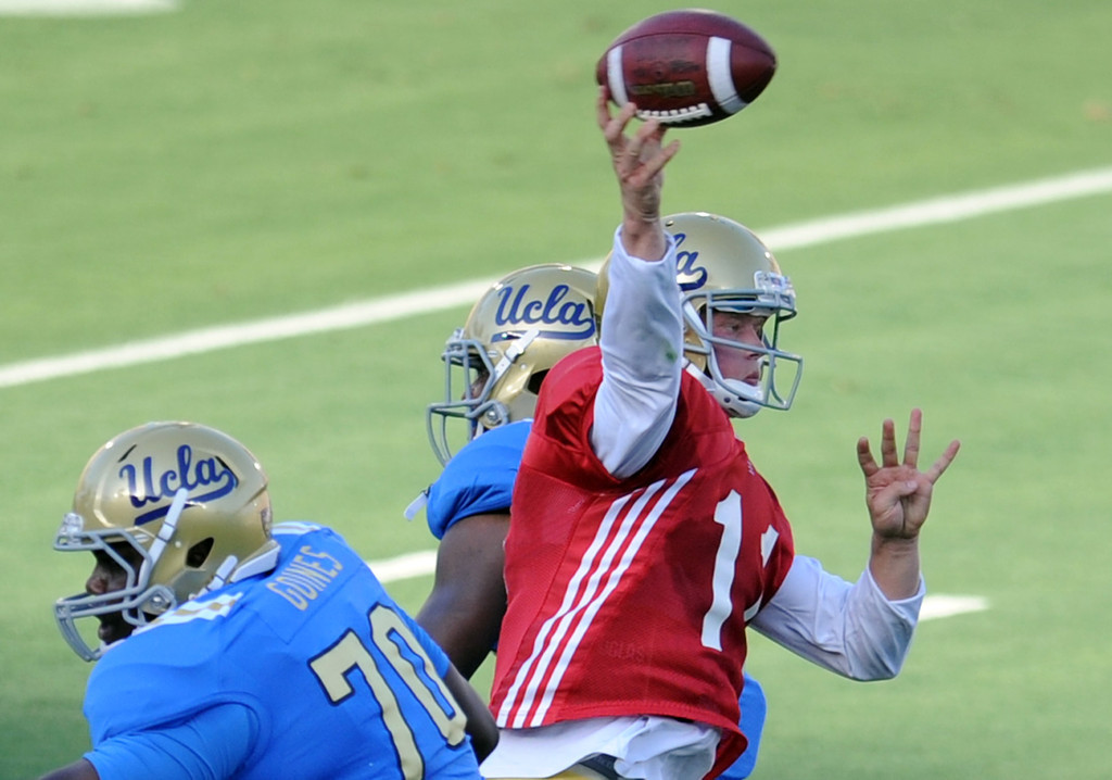 . UCLA quarterback Jerry Neuheisel (11) during the football spring showcase college football game in the Rose Bowl on Saturday, April 27, 2013 in Pasadena, Calif.    (Keith Birmingham Pasadena Star-News)