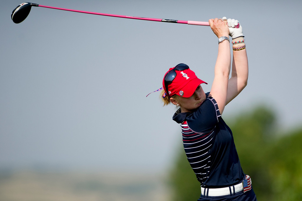 . PARKER, CO - AUGUST 16: American morgan Pressel tees off on the eighth hole during the first day of the Solheim Cup at Colorado Golf Club, on August 16, 2013.  (Photo By Grant Hindsley/The Denver Post)