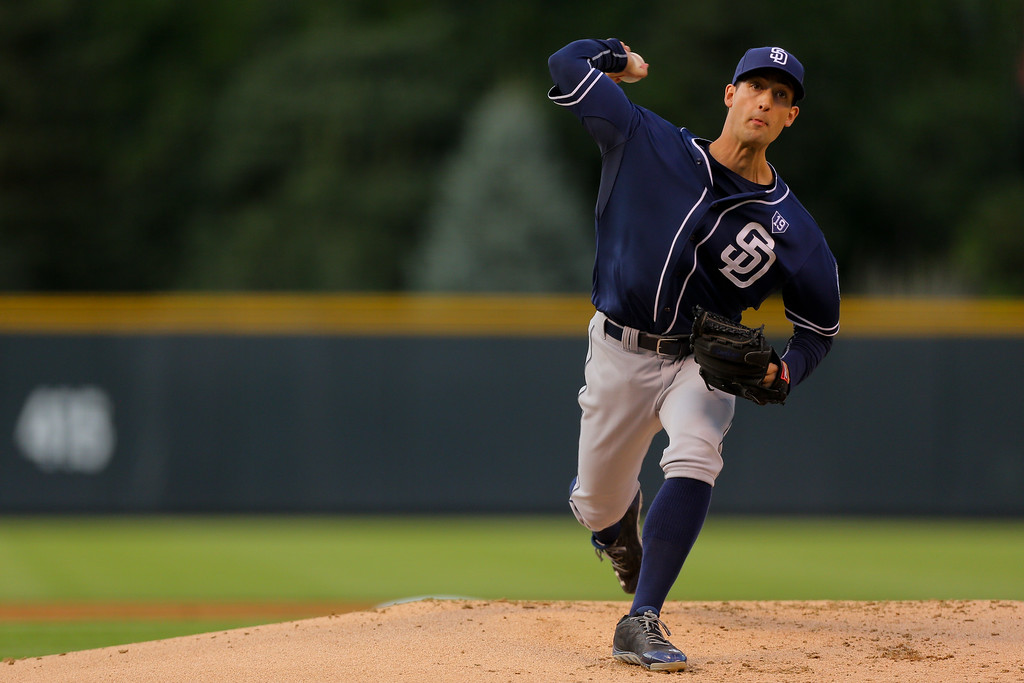 . DENVER, CO - SEPTEMBER 6:  Starting pitcher Joe Wieland #43 of the San Diego Padres delivers to home plate during the first inning against the Colorado Rockies at Coors Field on September 6, 2014 in Denver, Colorado. (Photo by Justin Edmonds/Getty Images)