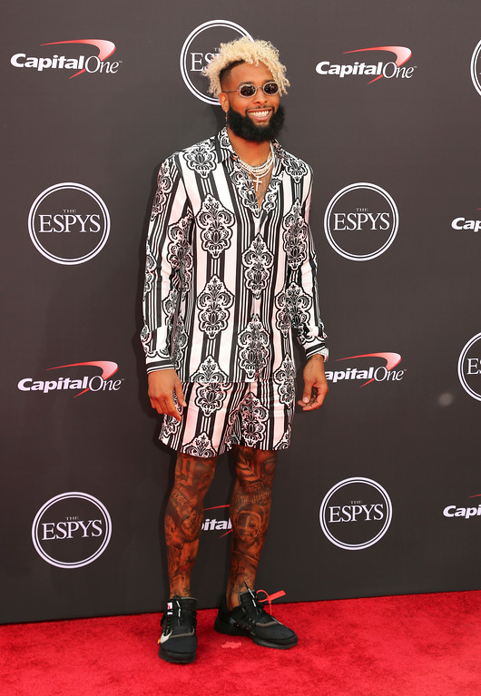 . New York Giants\' Odell Beckham Jr. arrives at the ESPY Awards at Microsoft Theater on Wednesday, July 18, 2018, in Los Angeles. (Photo by Willy Sanjuan/Invision/AP)