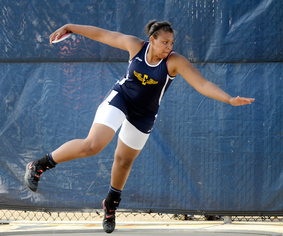 . Maribeth Joeright/MJoeright@News-Herald.com<p> Euclid\'s Rashida Harris winds up for her discus throw during the Division I regional final meet at Austintown Fitch High School.
