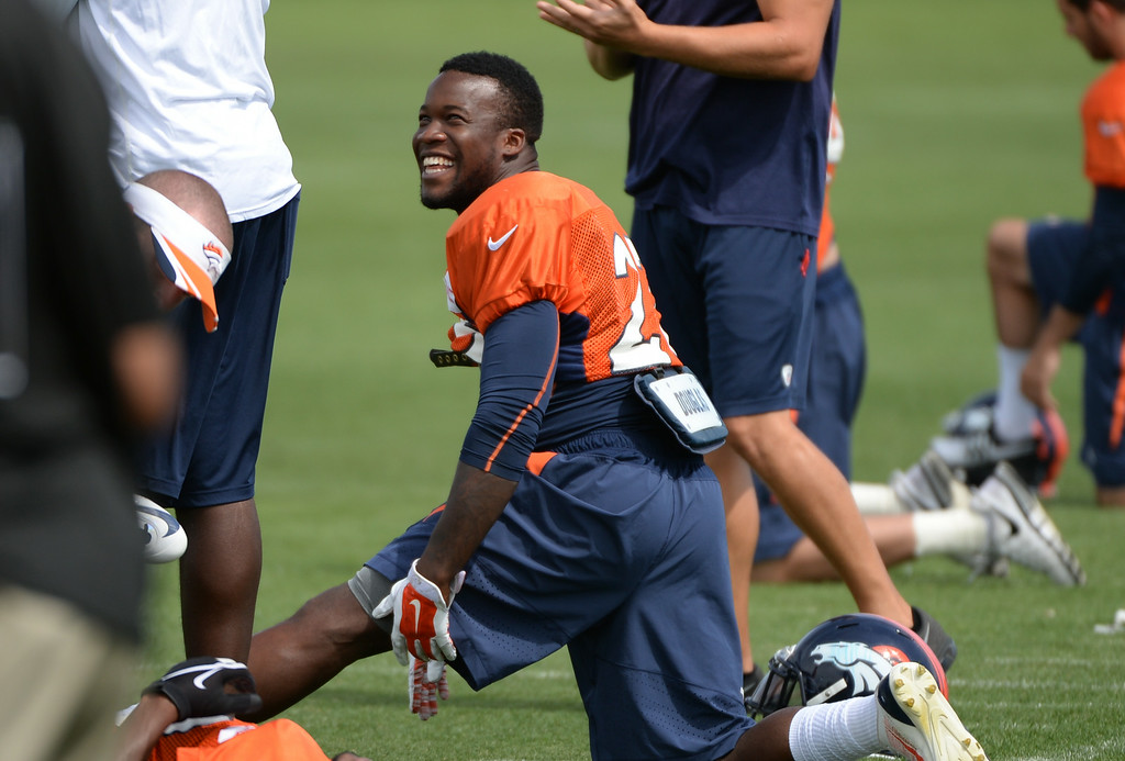 . Ronnie Hillman of Denver Broncos (23) is warming up during the Denver Broncos 2014 training camp at Dove Valley, Englewood, Colorado, August 01, 2014. (Photo by Hyoung Chang/The Denver Post)