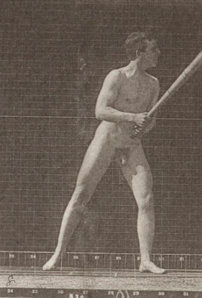 Nude man playing baseball, batting