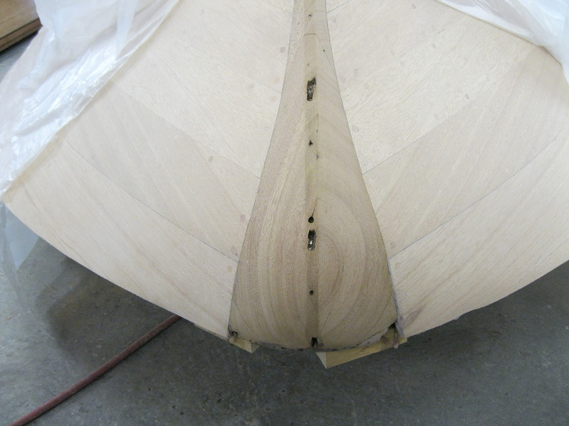 Front view of new planks installed and faired into the bull nose.