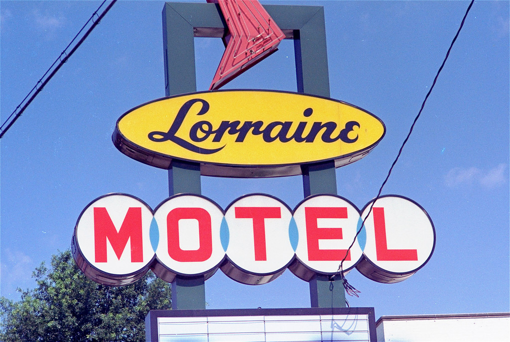 . The drive in sign at the Lorraine Motel, Mulberry Street, Memphis, Tenn., April 6, 1968, just after Dr. Martin Luther King, Jr.\'s assassination, April 4, 1968.  (AP Photo)