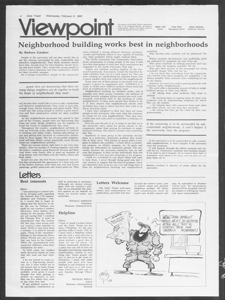 Daily Trojan, Vol. 93, No. 21, February 09, 1983