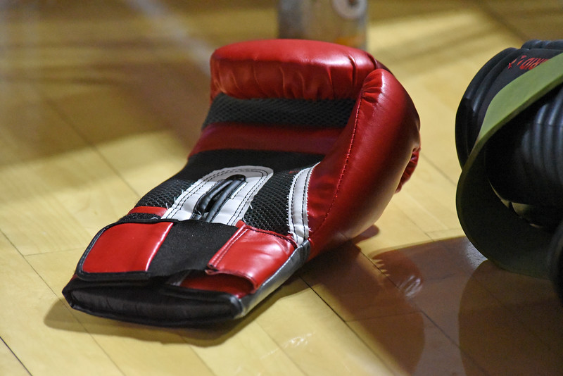I wasn't sure what to think when I saw this boxing glove near the basketball team's gear bag.