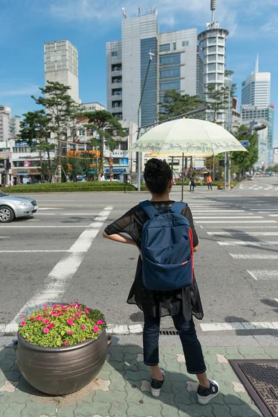 Rear view of woman standing at roadside, Seoul, South Korea