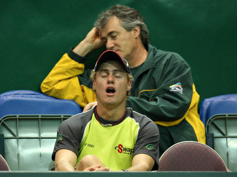 13 April 2008 Townsville, Qld, Australia - Davis Cup Asia-Oceania zone group 1 second round.  Australia's Peter Luczak plays Thailand's Danai Udomchoke in the fourth rubber.  The excitement of the dead rubber proved too much for Lleyton Hewitt and team doctor David Brooks - Photo: Cameron Laird (Ph: 0418 238811)