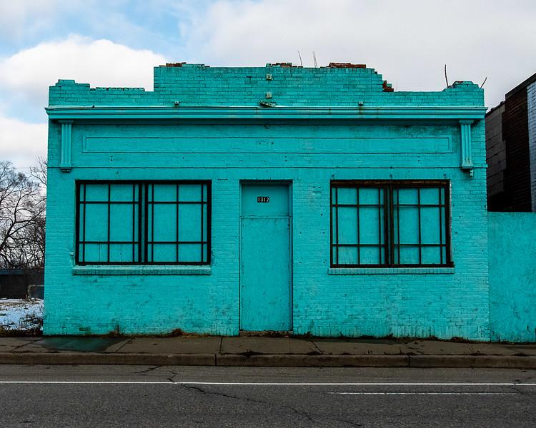 Turquoise Facade, Mt. Elliot Street, Detroit