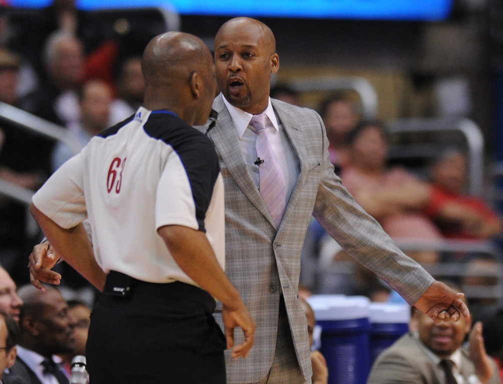 . Denver coach Brian Shaw argues with official in the send half The Los Angeles Clippers defeated Denver Nuggets 117 to 105 in a regular season NBA game. Los Angeles, CA. 4/15/2014(Photo by John McCoy / Los Angeles Daily News)