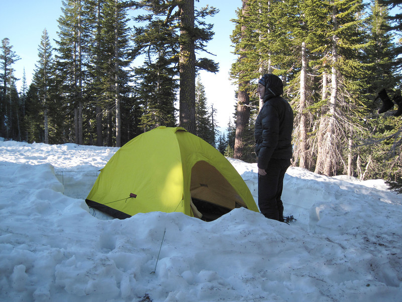 Our first night camp in the snow. It was cold and the snow was firm.