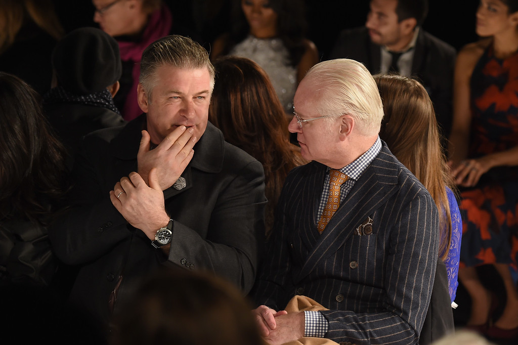 . NEW YORK, NY - FEBRUARY 15:  Actor Alec Baldwin and Tim Gunn attend Carmen Marc Valvo fashion show during Mercedes-Benz Fashion Week Fall 2015 at The Theatre at Lincoln Center on February 15, 2015 in New York City.  (Photo by Larry Busacca/Getty Images For Carmen Marc Valvo)