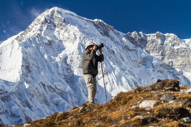Senior Adventure Photographer And Cho Oyu, Gokyo, Solukhumbu, Nepal, Asia