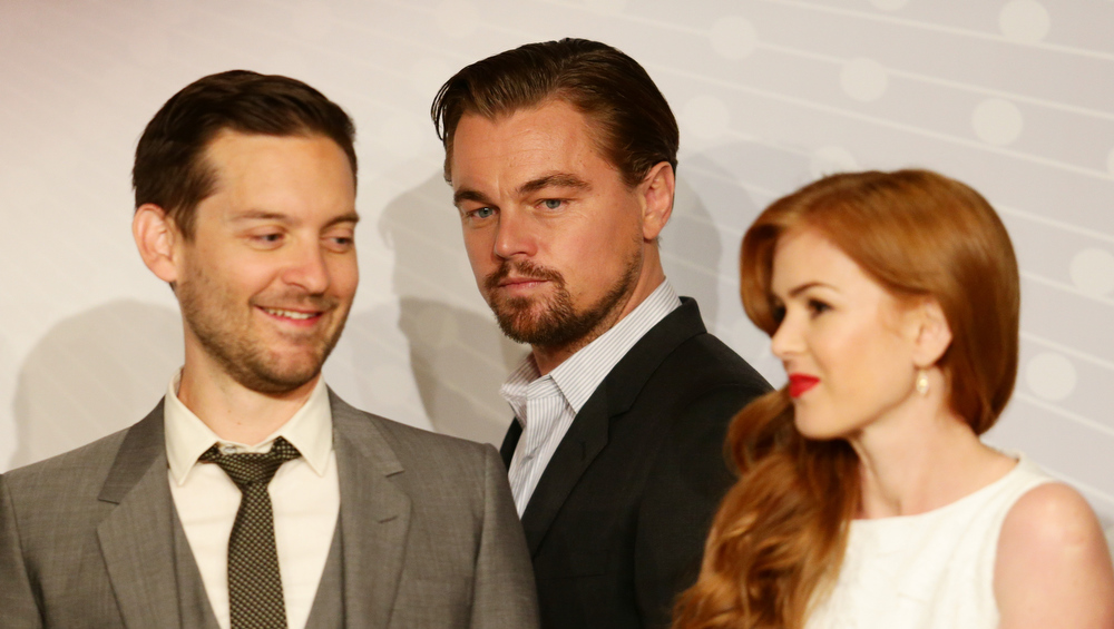 . Actor Tobey Maguire, actor Leonardo DiCaprio and actress Isla Fisher attend the \'The Great Gatsby\' Press Conference during the 66th Annual Cannes Film Festival at the Palais des Festivals on May 15, 2013 in Cannes, France.  (Photo by Vittorio Zunino Celotto/Getty Images)
