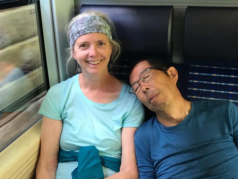 Harvey sleeping on the train