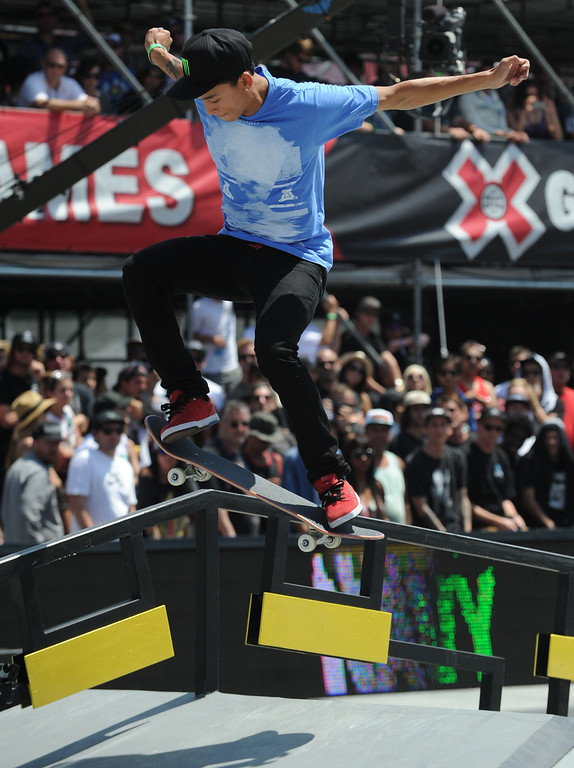 . Nyjah Huston rides his his way to a first place finish in the Street League Skateboarding final at L.A. Live in Los Angeles, CA. 8/3/2013(John McCoy/LA Daily News)