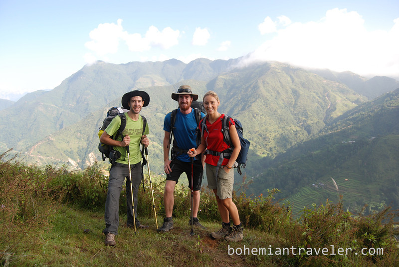 Stephen, Warrick, and Becky along the Helambu Trek in Nepal.