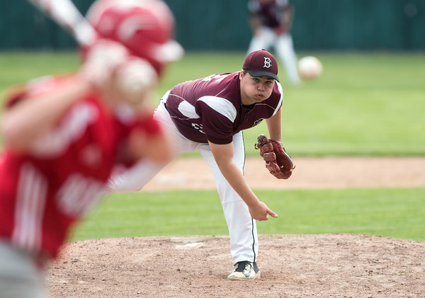05/07/18 Wesley Bunnell | Staff Bristol Central baseball defeated Berlin 1-0 at Muzzy Field on Monday afternoon. Bristol Central pitcher Stephen Warkoski (25).